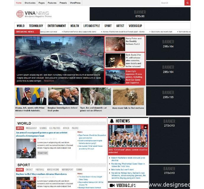 免费响应式杂志WordPress主题:Vina News 1